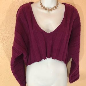 Forever 21 burgundy front crop sweater
